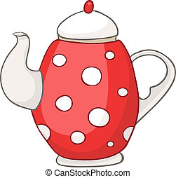 Cartoon Home Kitchen Kettle Isolated on White Background...
