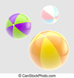 Three glossy colorful inflatable balls isolated
