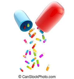 Medical pills inside huge one