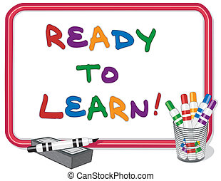 Ready To Learn Whiteboard - Ready to Learn text on red frame...