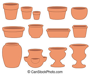 Flowerpots and Pottery - Clay flowerpots and pottery: small,...