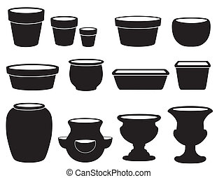 Flowerpots and Pottery - Silhouettes of clay flowerpots and...