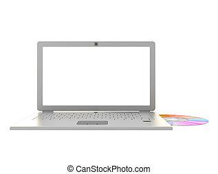 Laptop cd data transfer. 3d render