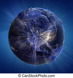 North America background. Earth map from NASA