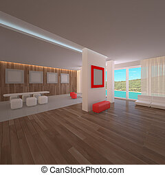 Penthouse interior. Concept modern project