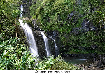 Triple Falls of Hana - A triplel waterfall on 'Road to Hana'...