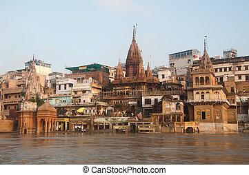 Manikarnika Ghat - View of Manikarnika Ghat, Varanasi,...