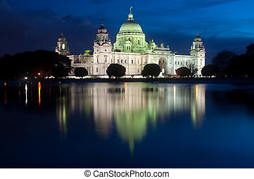Victoria Memorial - Victoria memorial after sunset Calcutta,...
