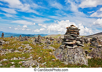 Mountain Altai. A beautiful landscape with stones and the blue sky.
