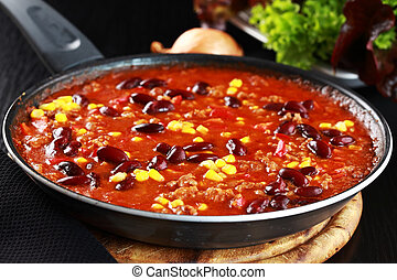 Chilli con carne in pan - Chilli con carne cooked in the pan