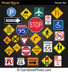Road Signs - Image of various road signs on a dark gray...