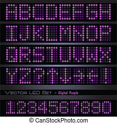 Purple Digital Font - Image of a colorful purple digital set...