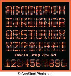 Orange Digital Font - Image of colorful orange alphabetic...