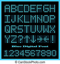 Blue Digital Font - Image of a set of colorful blue...