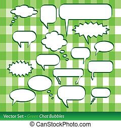 Chat Bubbles - Image of colorful chat bubbles on a green...