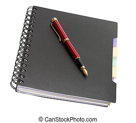 fountain pen - notebook with binding and fountain pen...