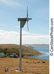 Wind turbine on isolated farm.