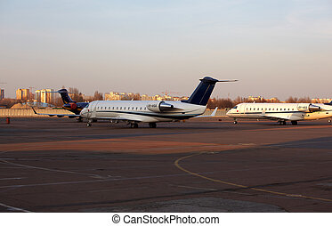 Aeroplanes parked  - The aeroplanes parked at airport