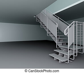 Metal ladder on the second floor with two sections in an empty room