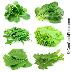 Collage from salad - Collage of green and juice salad on...