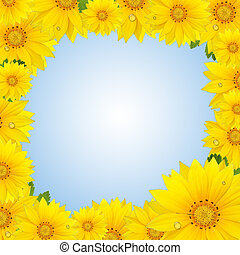Flowers frame with yellow sunflower isolated on white background