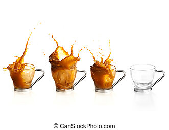 coffee splashing in a cup against a white background