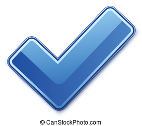 Blue check mark Vector illustration