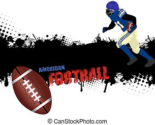 Grunge american football poster with player and ball,vector...