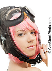 pink hair girl in aviator helmet