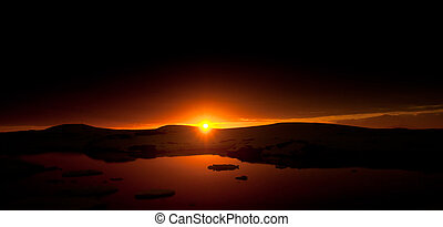 Summer sunset in Antarctica Beautiful winter background