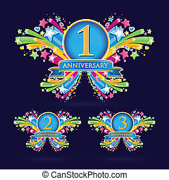 Aniversary banner ribbons set