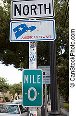 Zero miles on the Florida Keys - A sign post indicating Zero...