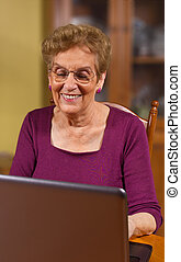 Senior citizen using laptop in dinning room