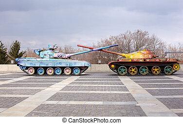 Hippy tanks in Kiev, Ukraine - Hippy tanks in Kiev, Museum...