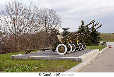 Soviet artillery from the WW2, War museum in Kiev