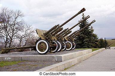 Soviet artillery from the WW2, War museum in Kiev