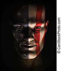 Closeup Illustration of Man Wearing USA Flag Face Paint - A...