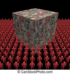 Chinese Yuan cube surrounded by people illustration