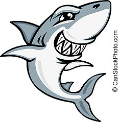 dessin animé, requin, mascotte