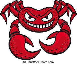 fâché, crabe, mascotte