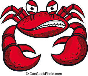 Angry crab with claws in cartoon style for mascot or emblem...