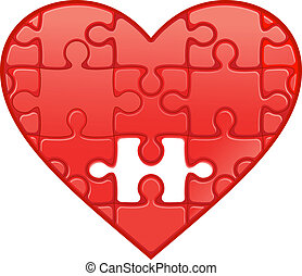 Puzzle heart - Red heart with puzzles as a concept of...