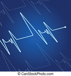 Heart pulse on screen - Heart pulse on blue screen for...