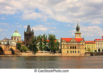 Historic part of Prague - View on Vltava river and historic...