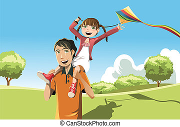 Father daughter playing kite - A vector illustration of a...