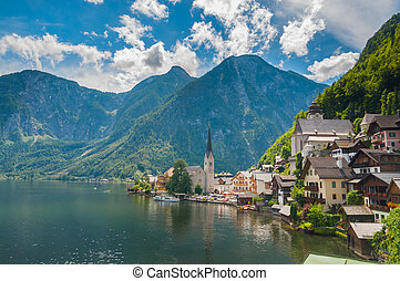 Beautiful summer Alpine Hallstatt Town and lake Hallstatter....
