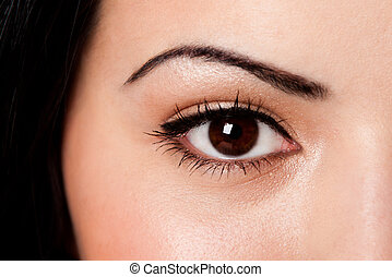 Eyebrow and eye - Beautiful female eyebrow and brown eye...