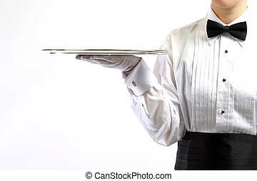 Female server with silver tray
