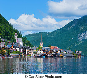 Beautiful summer Alpine Hallstatt Town and lake Hallstatter...