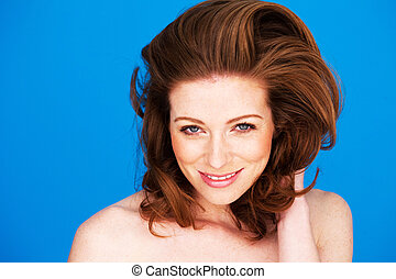 Smiling Woman With Auburn Hair